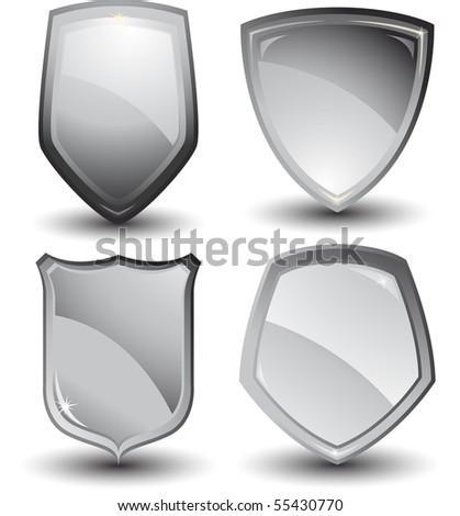 Vector silver shields - stock vector