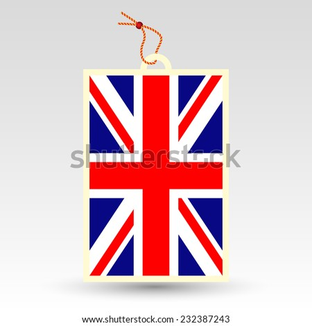 vector simple british price tag - symbol of made in united kingdom of great britain - uk - english label with string - national flag of england - stock vector