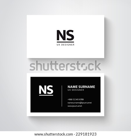 Vector simple  business card template. Clean design - stock vector