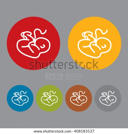 Vector : Simple Circle Baby, Infant, Fetus, Infographics Flat Icon, Sign - stock vector