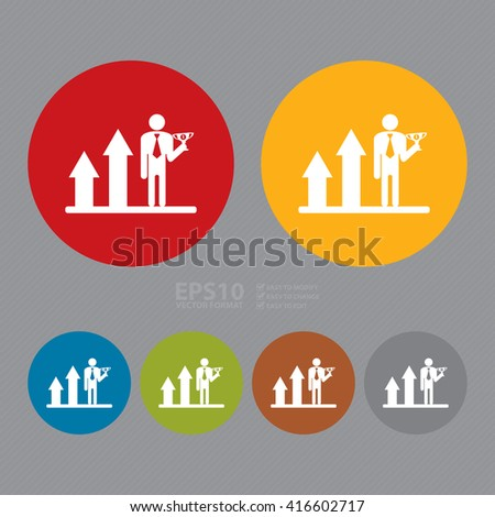 Vector : Simple Circle Businessman on Bar Chart Hold No 1 Trophy Infographics Flat Icon, Sign - stock vector