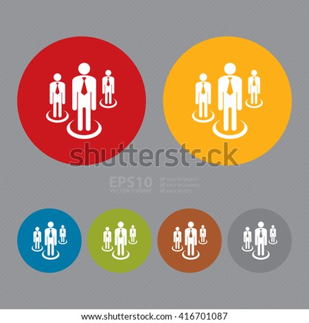 Vector : Simple Circle Group of Businessman Infographics Flat Icon, Sign - stock vector