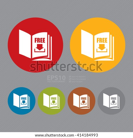 Vector : Simple Circle Open Book With Free Download Infographics Flat Icon, Sign - stock vector