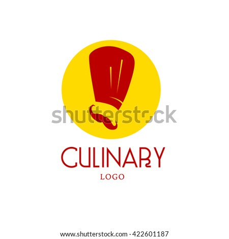 Vector simple flat food logo. Restaurant, cafe, catering insignia. Food icon. Chef in hat icon isolated on white background. Cook with mustache portrait. Simple human figure. Sweet shop, bakery. - stock vector