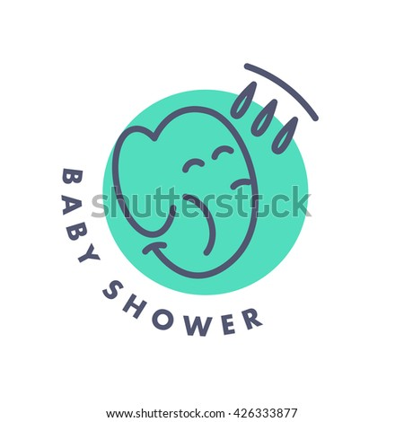 Vector simple flat kid logo. Baby, child company goods, toys shop, store. Smiling elephant icon. Shower icon isolated on white background. Animal portrait, elephant head. Water drops. - stock vector