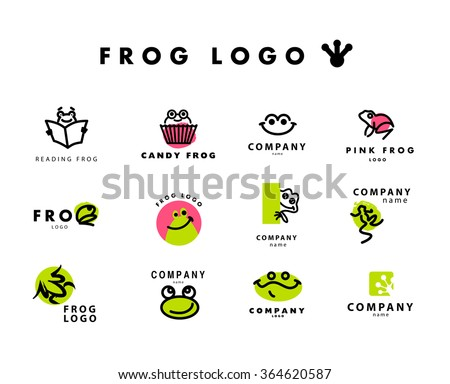 Vector simple flat logo with frog character. Cute friendly frog illustration. Logo, insignia template. Animal, pet store, children toys shops, zoo market, eco company, outdoor service and business.  - stock vector