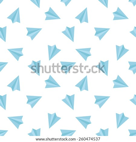 Vector simple flat minimalistic paper planes seamless pattern - stock vector