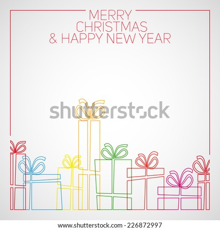 Vector simple line drawing christmas card. christmas presents, gift boxes. - stock vector