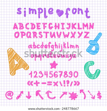 Vector simple marker hand drawn english uppercase and lowercase alphabet cartoon style font with numbers, math signs and arrows set, easy edit color - stock vector