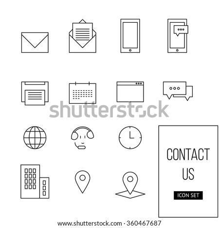 Vector simple outline set of icon contact us: mail, email, phone, sms, fax, printer, clock, map, mobile, location, chat for your website, app, business - stock vector