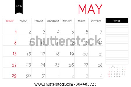 Vector simple planning calendar May 2016 with a place for notes. Weeks start on Sunday - stock vector