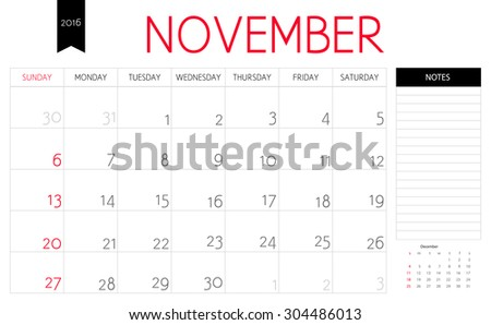 Vector simple planning calendar November 2016 with a place for notes. Weeks start on Sunday - stock vector