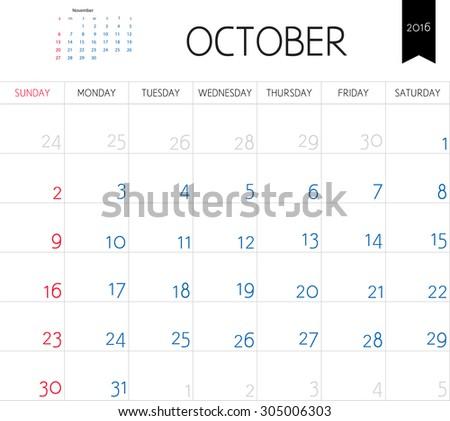 Vector simple planning calendar October 2016. Weeks start on Sunday - stock vector