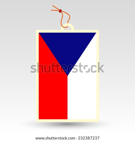 vector simple price tag - symbol of made in Czech republic - label with string - national flag pattern - stock vector