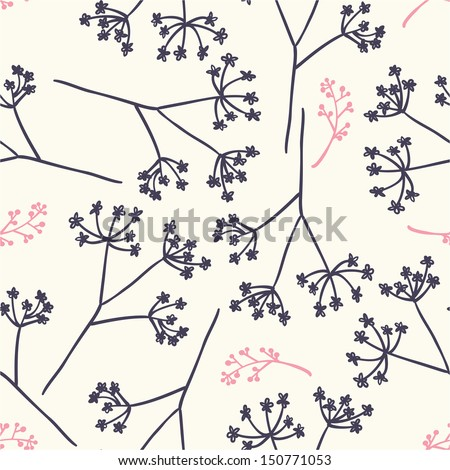 Vector simple seamless pattern with dandelions - stock vector