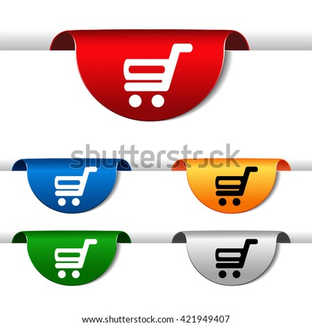 Vector simple shopping cart - trolley on green, blue, red, orange and silver label. Item, buy button for web page. - stock vector
