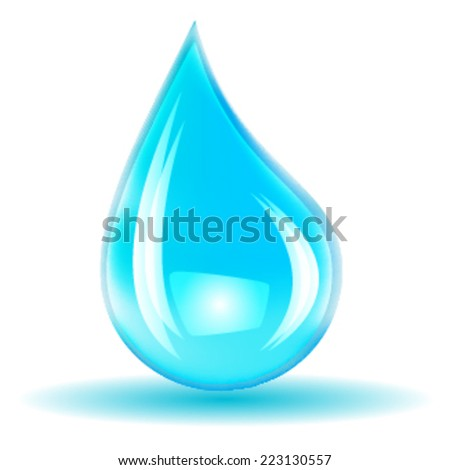 Vector Single Blue Shiny Water Drop Isolated on the White Background . Logo Design . - stock vector