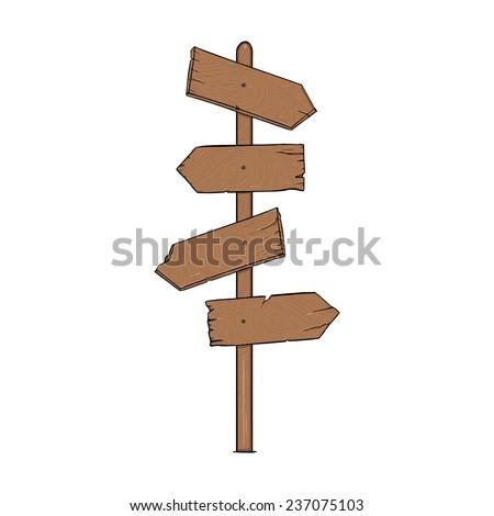 Vector Single Cartoon Wooden Signpost - stock vector