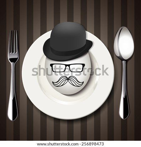 Vector Single Hipster Egg on a White Plate with Spoon and Fork on Brown Background - stock vector