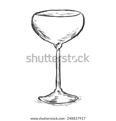 Vector Single Sketch Champagne Saucer - stock vector