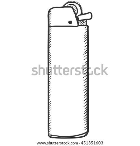 Vector Single Sketch Disposable Lighter - stock vector