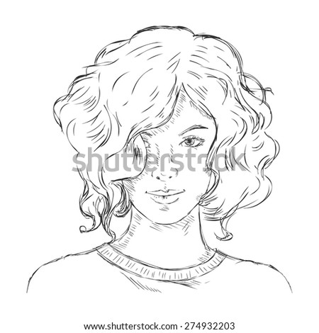 Vector Single Sketch Female Face. Women Hairstyle. - stock vector