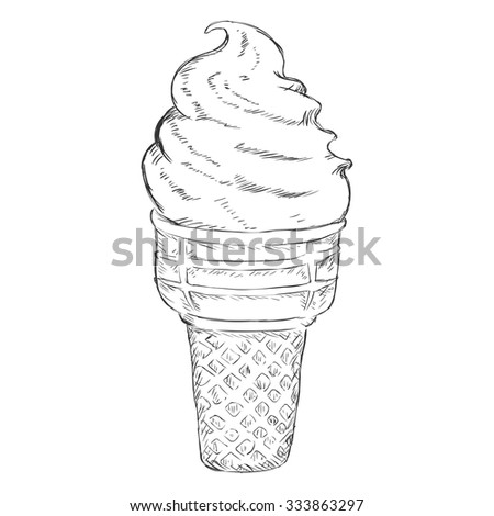 Vector Single Sketch Ice Cream Cone - stock vector