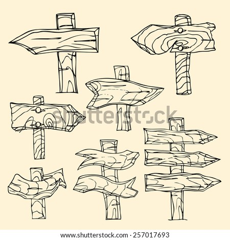 Vector Single Sketch Signpost. Isolated on yellow - stock vector