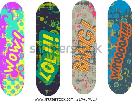 Vector skateboard design pack with cartoon style effects - stock vector
