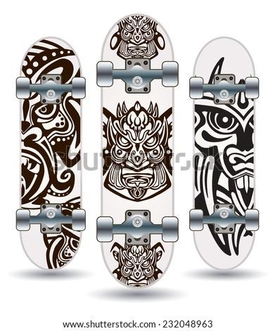 Vector skateboards ( Tiki Mask Design )  - stock vector