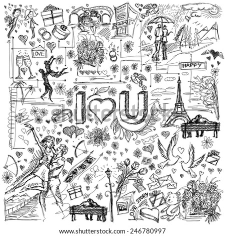 Vector sketch background with love story elements, dancing couple, flowers, rings, cinema and dates - stock vector