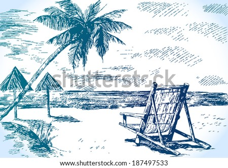 vector sketch beach with palm trees - stock vector