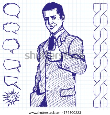 Vector sketch, comics style business man shows well done against different backgrounds - stock vector