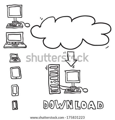 Vector sketch computing download cloud - stock vector