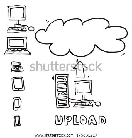 Vector sketch computing upload cloud - stock vector