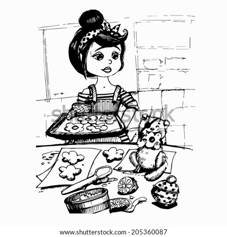 Vector sketch girl and kitten bake cookies stock vector