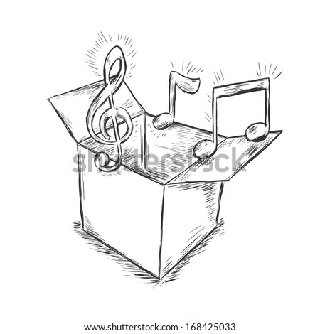 vector sketch illustration - box with music - stock vector