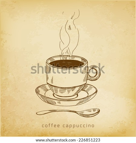 vector sketch illustration - cup of coffee - stock vector