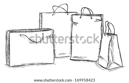 vector sketch illustration - four shopping bags - stock vector