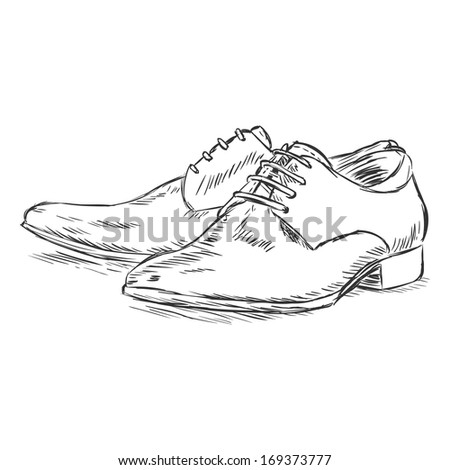 vector sketch illustration - men's shoes - stock vector