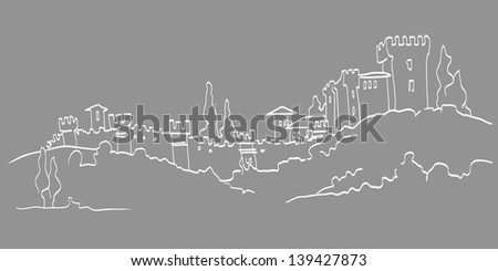 Vector sketch illustration of a castle on hills - stock vector