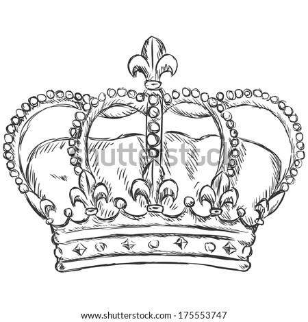 vector sketch illustration - royal crown - stock vector