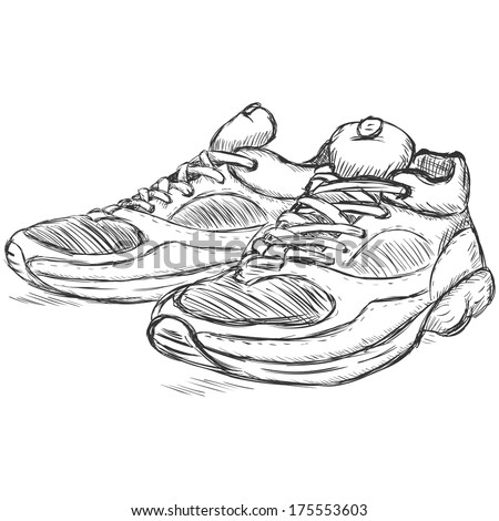 vector sketch illustration - running shoes - stock vector