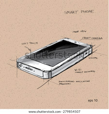 Vector sketch illustration - smartphone with touchscreen display - stock vector
