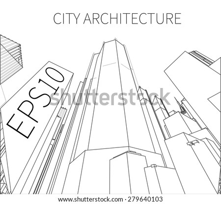 Vector sketch of a skyscrapers on a white background - stock vector