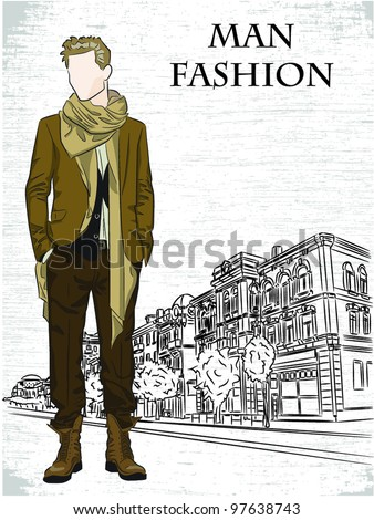 Vector sketch of fashionable man, the background - stock vector