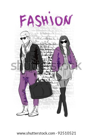 Vector sketch of fashionable men and woman in the street, the background - stock vector