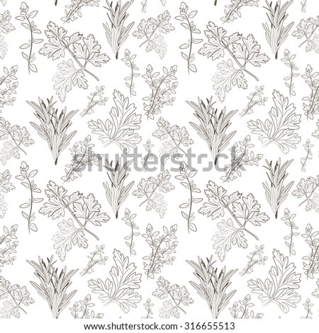 Vector sketch of fresh parsley, thyme and rosemary herbs on white background. Seamless pattern. - stock vector