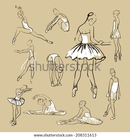 vector sketch of girl's ballerinas standing in a pose set - stock vector