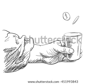 Vector sketch of hands holding cup for money, Hand drawn illustration - stock vector